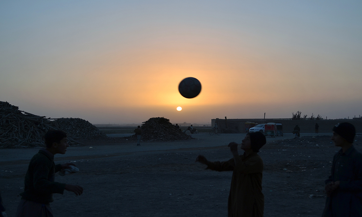 Children play football in an empty land near Chaman border. Football has been popular in this region since 1940. Kaleemullah, who is the captain of the Pakistan team and one of the top strikers in the country, also belongs to Chaman.