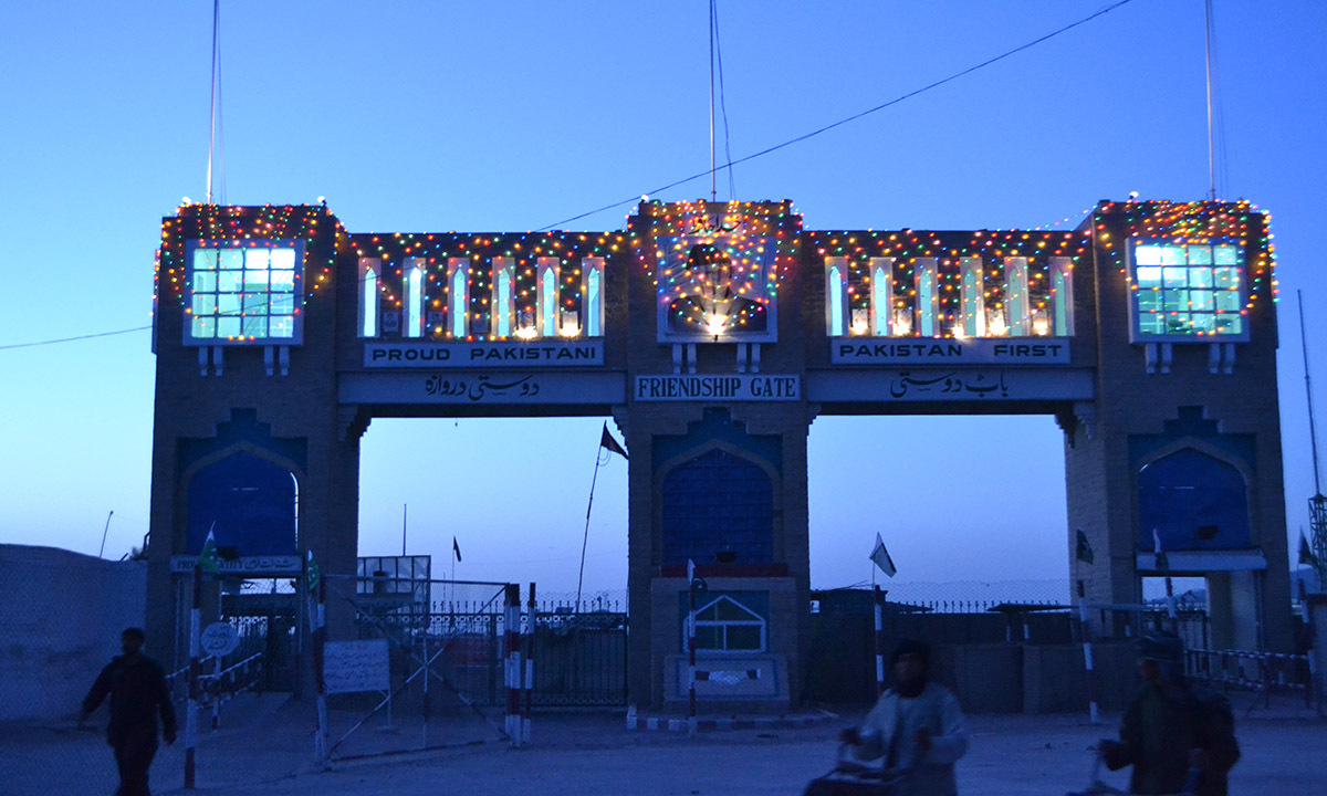 The Friendship gate on Pak-Afghan border, which has witnessed a number of suicide blasts in the past, now looks serene with the decorations on special occasions.