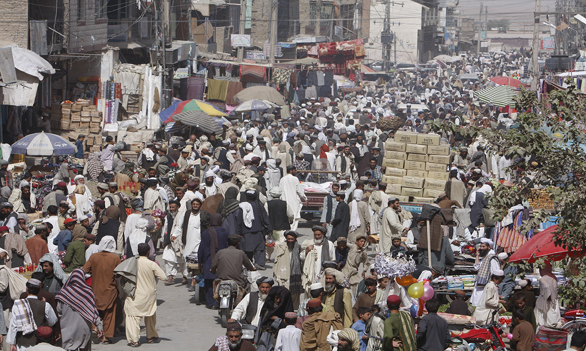 Chaman's main bazaar is a hub of activity.