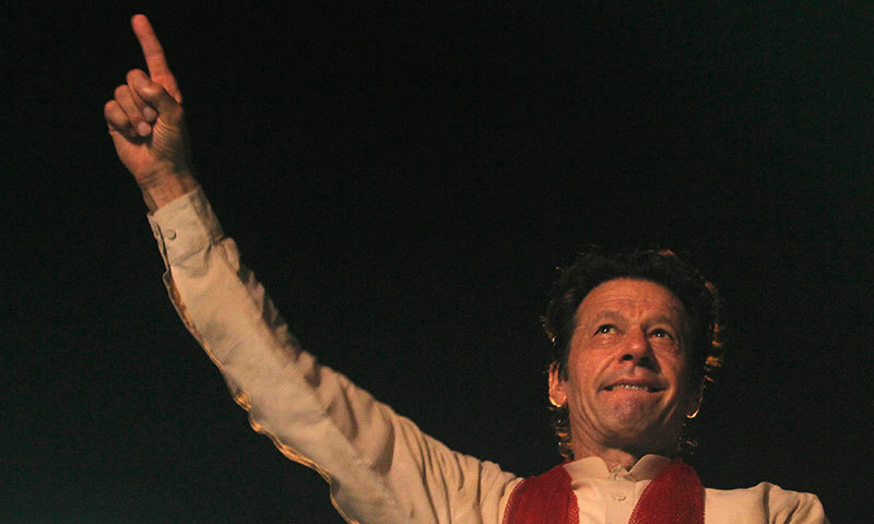 PTI chief Imran Khan speaks to his party supporters in Islamabad. – Photo by Reuters