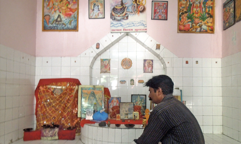 Prem Chand sits at Valmiki Mandir, one of the three active temples in the city. There is a sizeable population of Hindus in the area.