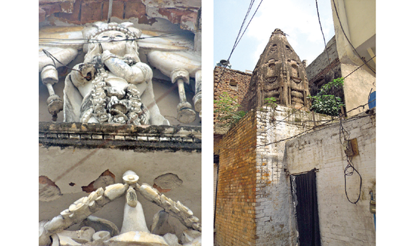 The statue of a woman perched on the entrance of a Haveli. & This Hindu temple is now inhabited by a Muslim family.