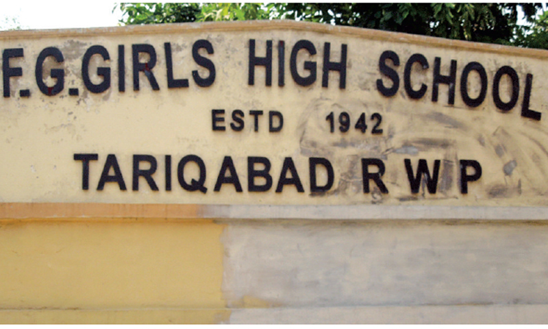F.G. Girls High School established in 1942. The official name of Lal Kurti was changed to Tariqabad in the 1980s but it appears only in a few places.