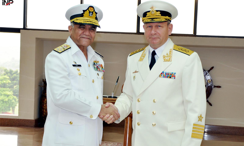 ISLAMABAD: Chief of the Naval Staff Admiral Asif Sandila shakes hands with Admiral Viktor V. Chirkov, the Commander-in-Chief of Russian Federation Naval Forces, at the Naval Headquarters on Thursday.—INP