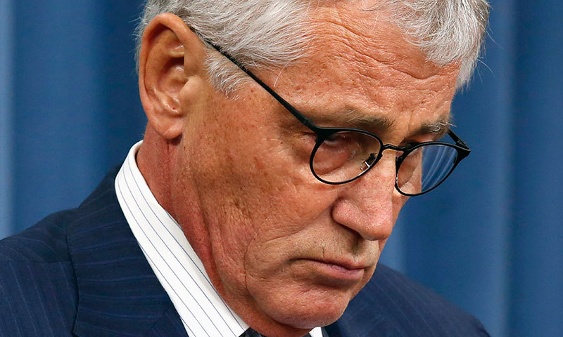 US Secretary of Defence Chuck Hagel pauses during a media briefing at the Pentagon in Washington, August 21, 2014. — Reuters