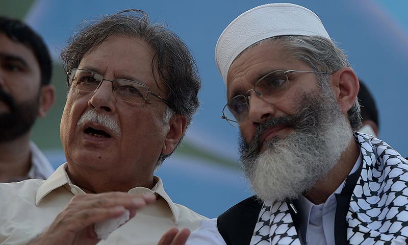 Jamaat-i-Islami emir Sirajul Haq (R). — Photo by AFP