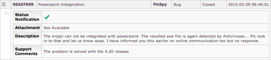The screenshot of the FinFisher portal shows a software update request by the Pakistani customer.
