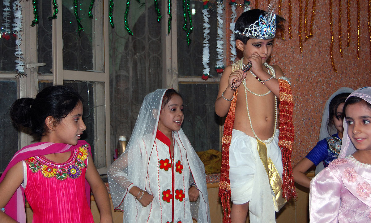 Children take part in the Janmashtami celebrations at a temple in Chaman. -Photo by Matiullah Achakzai