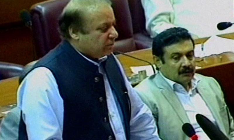 Prime Minister Nawaz Sharif speaking in NA. — videograb