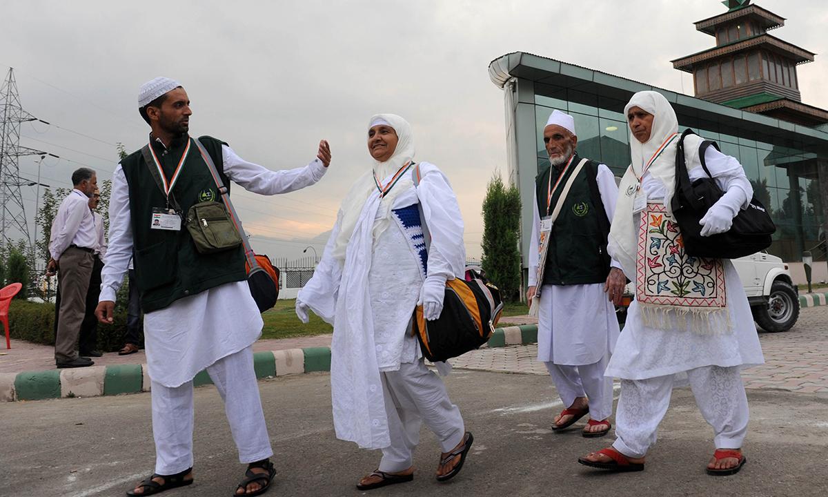 Kashmiri pilgrims depart for Makkah for the annual Haj pilgrimage, in Srinagar. — Photo by AFP