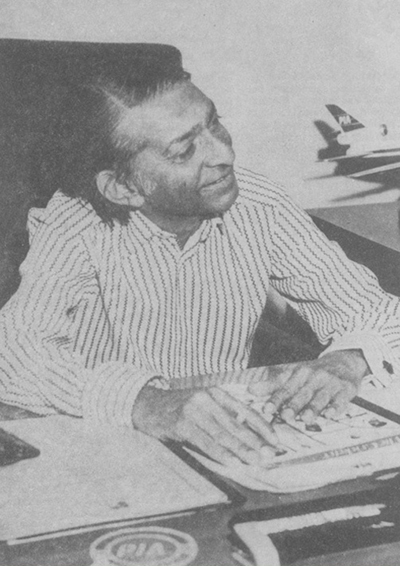 Omar Kureishi in his office in 1974 (Picture courtesy: The Pakistan Cricketer - February 1974 issue).