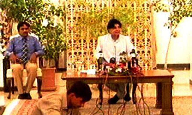 Chaudhry Nisar Ali Khan addressing a press conference. — videograb