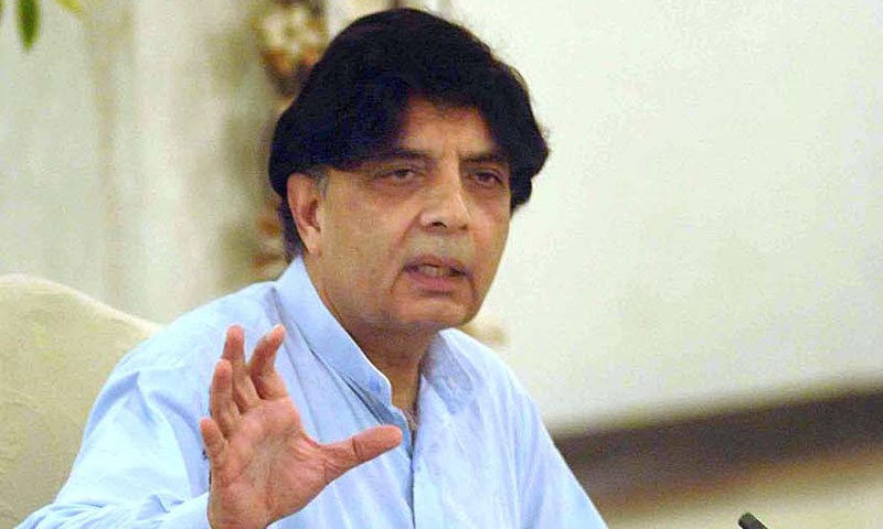 Interior Minister Chaudhry Nisar Ali Khan addresses a press conference in Islamabad on Friday. — APP Photo