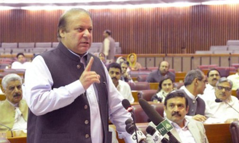 Prime Minister Nawaz Sharif addresses National Assembly.— Photo courtesy Press Information Department