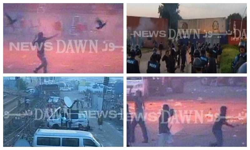 — Screengrab shows protesters and police at D-Chowk on Sunday morning