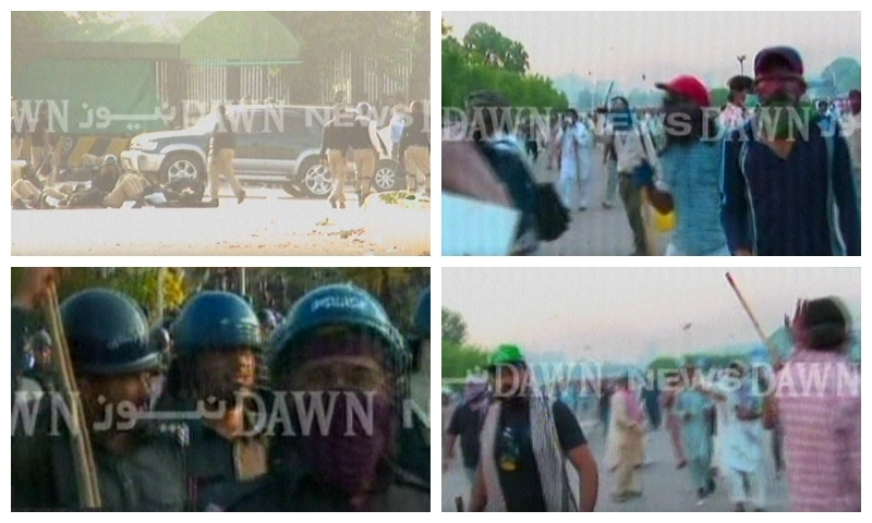 — Screengrabs of ongoing clahses between protesters and police