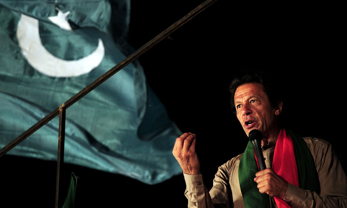 Imran Khan addresses supporters during an anti-government protest near the prime minister's residence in Islamabad on September 1, 2014. -AFP Photo