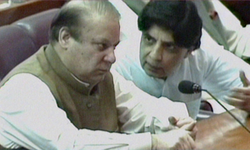 — Screengrab of PM Nawaz Sharif and Interior Minister Chaudhry Nisar in the Assembly session today