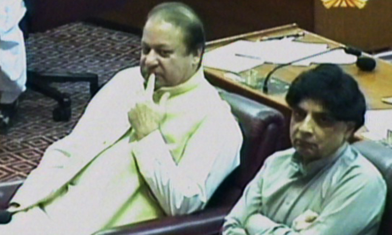 Nawaz and Nisar look on