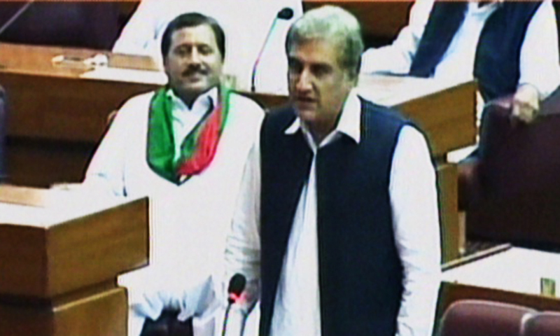 Screengrab of Qureshi as he speaks in Parliament