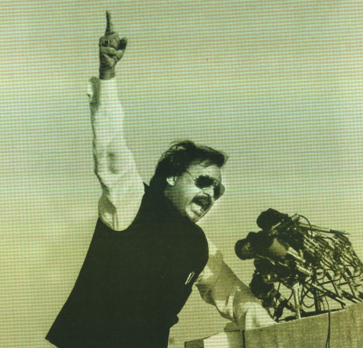 Altaf Hussain addresses hundreds of thousands of people at Shaheah-e-Quaideen, August 23, 1990.  Photo courtesy: Pictoral Biography of Altaf Hussain
