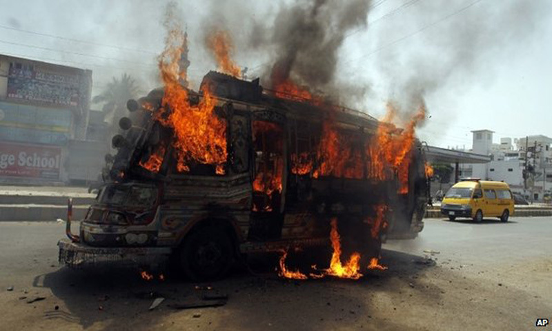 Several buses were set on fire after news of Altaf Hussain