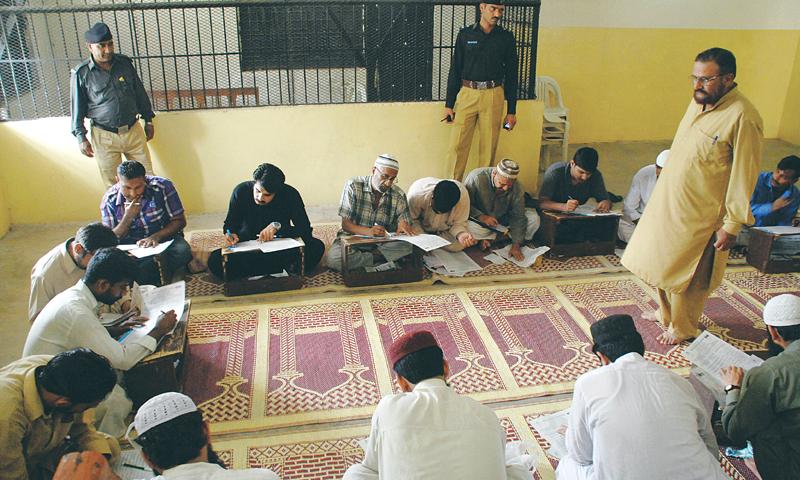 Prisoners preparing for exams