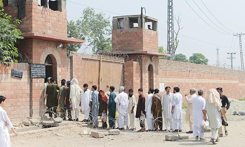 Visitors queue up outside Peshawar Central Prison
