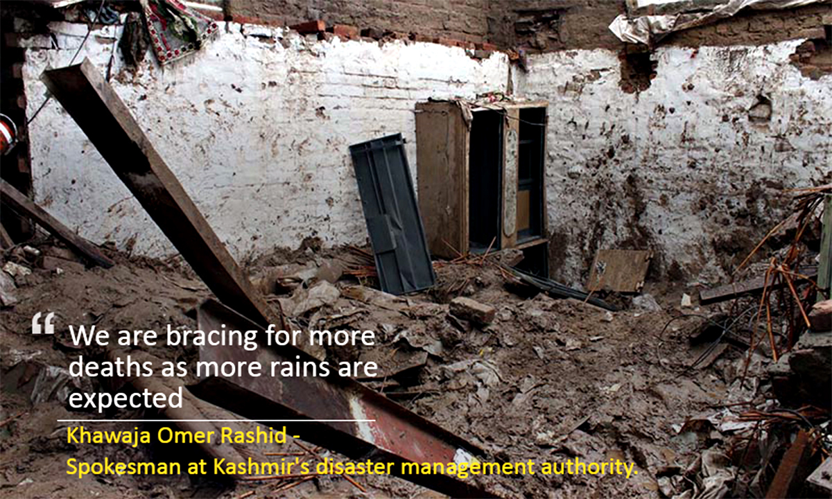 LAHORE, PAKISTAN, SEP 04: View damaged house after roof of house collapse incident due to heavy downpour of Monsoon Season, at GOR-II area in Lahore on Thursday, September 04, 2014. At least 25 people have been killed in roof collapses caused by heavy monsoon rains in Punjab, officials said Thursday, as authorities warned more intense rainfall and flash floods could be imminent. (Babar Shah/PPI Images).