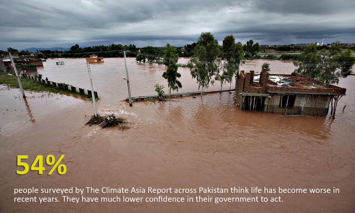 A view of a flooded area caused by heavy rains on the outskirts of Islamabad, Pakistan, Friday, Sept. 5, 2014. Heavy monsoon rains killed dozens of people across Pakistan as flash flooding inundated villages, prompting authorities to send troops to evacuate residents and assist in the emergency, officials said. (AP Photo/Anjum Naveed)