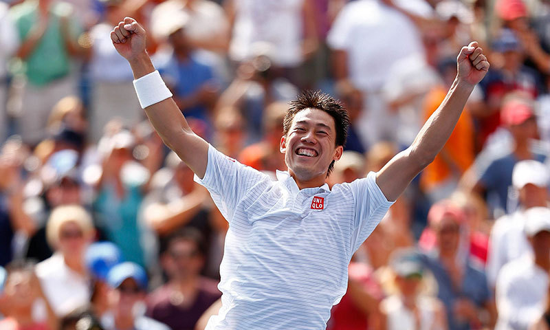 Kei Nishikori of Japan celebrates after defeating Novak Djokovic. – AFP Photo