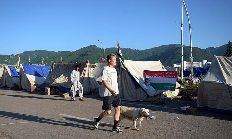 A foreigner walks with his dog alongside tents set up by supporters of Tahirul Qadri in front of the Parliament building in Islamabad on September 7, 2014.— Photo by AFP
