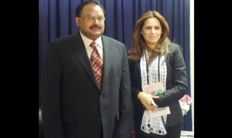 Irum Azeem Farooque standing next to MQM chief Altaf Hussain — Photo courtesy: Twitter