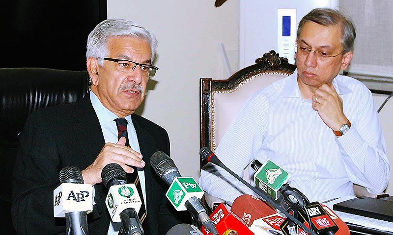 Federal Minister for Defence, Water and Power Khwaja Muhammad Asif addressing press conference. — Photo by APP