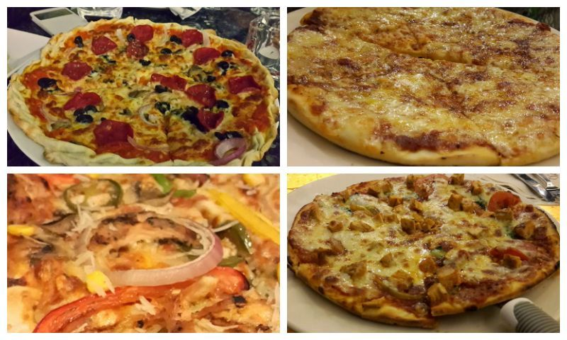 Clockwise from top: Spicy Pepperoni Salami, Four Cheese Pizza, Buffalo Chicken and Tex-Mex-Pizza