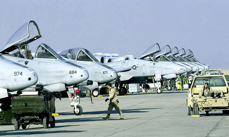 US Air Force A-10 fighters stand in line on the runway at Bagram Air Base north of Kabul. — File photo/AFP