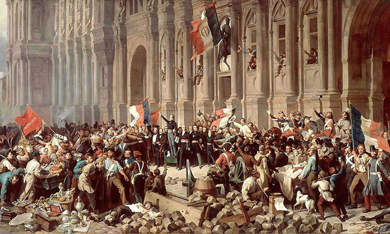 Lamartine in front of the Town Hall of Paris rejects the Red Flag, 25 February 1848, by French artist Henri Fellix Emmanuel Philippoteaux.