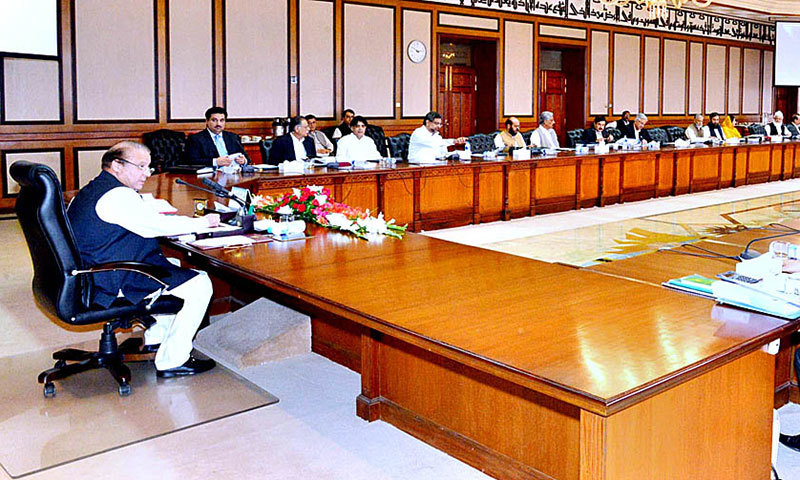 Prime Minister Nawaz Sharif presides over the Federal Cabinet meeting in Islamabad on Friday. – APP Photo