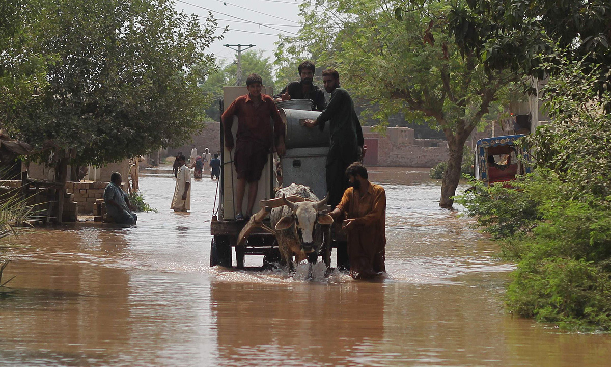 Flood-affected residents ride with their belongings on bullock cart through floodwaters in Sher Shah, a town in Multan District -Photo by AFP