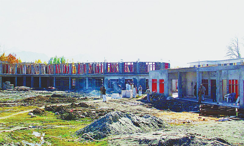 November, 2011: Rebuilding carries apace at the Governement Girls Degree College in Kabal,  which was destroyed by Taliban militants.—Online file photo