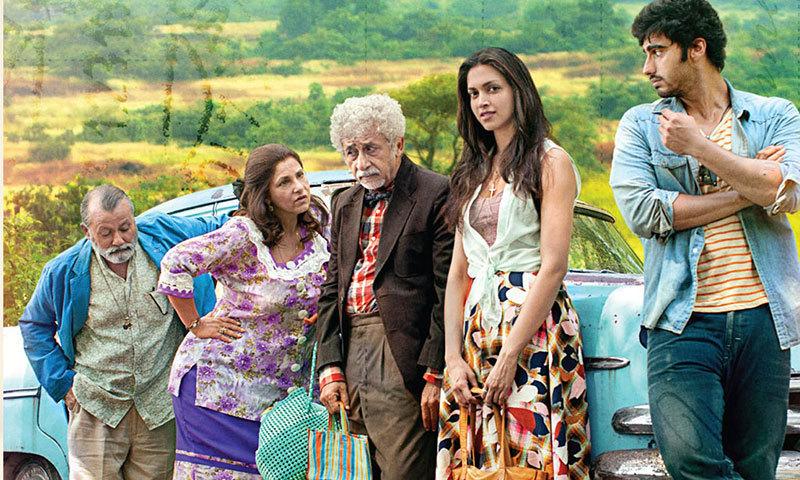 "Arjun Kapoor, Deepika Padukone, Naseeruddin Shah, Dimple Kapadia and Pankaj Kapoor in a scene from ""Finding Fanny"". – Courtesy Photo"
