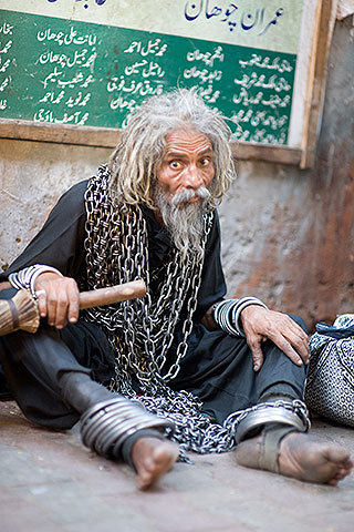 A mental illness patient at the Bibi Pak Daman Shrine in Lahore. —Photo by Saad Sarfraz