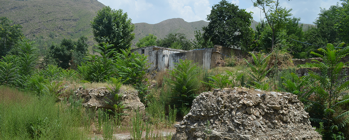 A view of debris piled up at Saidu Sharif Jail in Swat - Photo by author