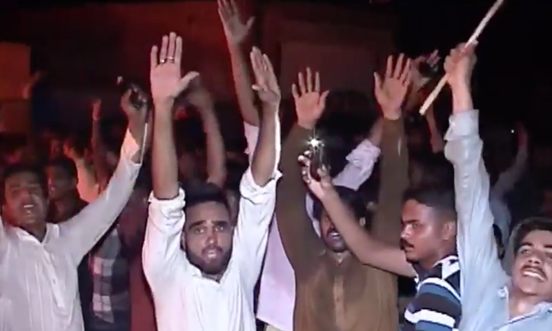 Screengrab from the mob attack on Ahmadis in Gujranwala in July this year.