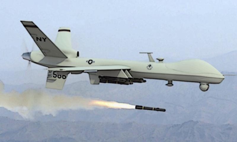 The US drone fired four missiles and completely destroyed a compound and a vehicle in the Alwara Mandi area of Dattakhel in North Waziristan tribal region.—File photo