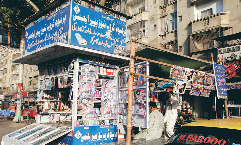 Newspaper stall at the Chowk