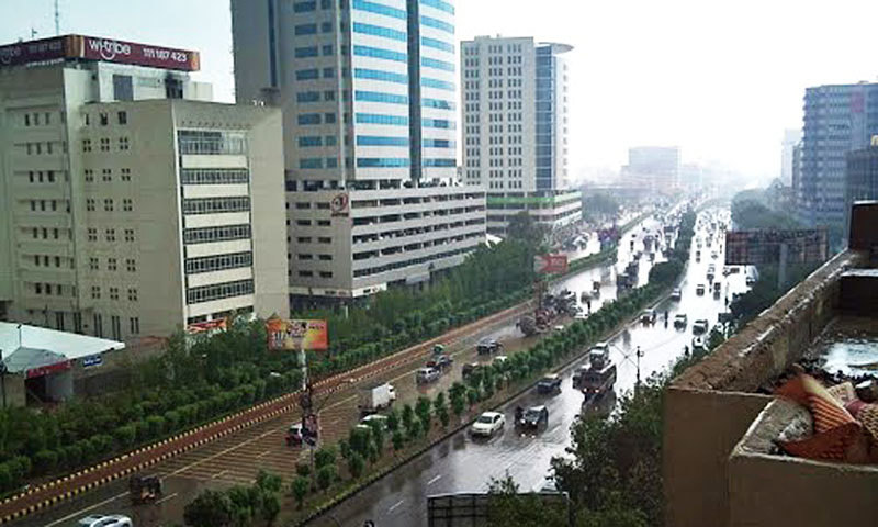 Karachi's long Shahra-e-Faisal Road. One of the city's 'neutral zones'.