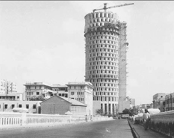 Habib Bank Plaza under construction.