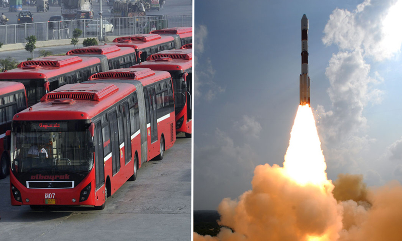 Left: Metrobuses lined up in Lahore. Right: India's Polar Launch Satellite Vehicle carrying the Mars Craft takes off. — Photo credit: AFP and ISRO