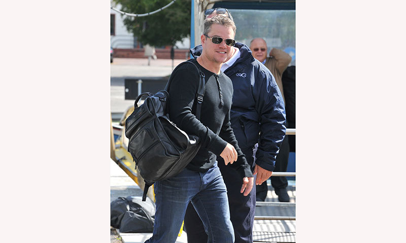 Matt Damon arrives at Venice Lido to attend the wedding ceremony of George Clooney. -Photo by AFP